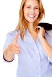 Femme d'affaires de prise de contact de Cheeful photos libres de droits
