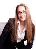 Femme d'affaires de sourire en glaces Images libres de droits