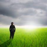 Femme d'affaires de vision dans les domaines verts de riz et coucher du soleil quand éditez le broblem photographie stock libre de droits