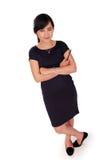 Femme d'affaires debout sûre d'isolement images stock