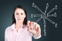Femme d'affaires dessinant la structure de réseau sociale. photo stock
