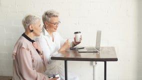 Femme d'affaires deux à l'aide de l'ordinateur portable dans le matin Affaires, personnes financières et modes de vie clips vidéos