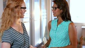 Femme d'affaires deux occasionnelle parlant ensemble banque de vidéos