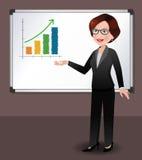 Femme d'affaires devant le tableau blanc Photo stock
