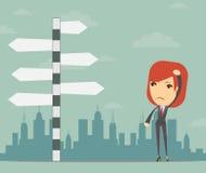 Femme d'affaires devant un choix Photo libre de droits