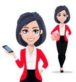 Femme d'affaires, directeur, banquier, ensemble de deux poses illustration stock