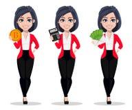 Femme d'affaires, directeur, banquier, ensemble de trois poses illustration de vecteur