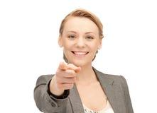Femme d'affaires dirigeant son doigt Image stock