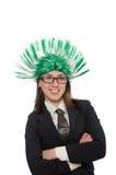 Femme d'affaires drôle dans le concept d'affaires sur le blanc Photo stock