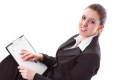 Femme d'affaires effectuant la présentation sur le panneau Image stock
