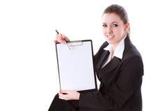 Femme d'affaires effectuant la présentation sur le panneau Photographie stock