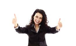 femme d'affaires effectuant le signe en bon état Images stock
