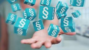 Femme d'affaires employant des cubes en loi du rendu 3D Image libre de droits