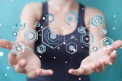 Femme d'affaires employant l'antivirus pour bloquer un renderi de l'attaque 3D de cyber Image libre de droits