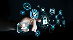 Femme d'affaires employant l'antivirus pour bloquer un renderi de l'attaque 3D de cyber Photos libres de droits