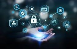 Femme d'affaires employant l'antivirus pour bloquer un renderi de l'attaque 3D de cyber Images stock