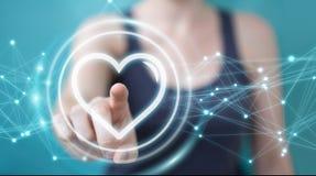 Femme d'affaires employant l'application de datation pour trouver l'amour 3D en ligne au sujet de Photos stock