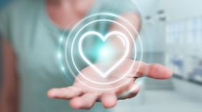 Femme d'affaires employant l'application de datation pour trouver l'amour 3D en ligne au sujet de Photo stock