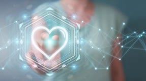 Femme d'affaires employant l'application de datation pour trouver l'amour 3D en ligne au sujet de Images stock