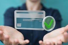 Femme d'affaires employant la carte de crédit pour payer le rendu 3D en ligne Photos stock