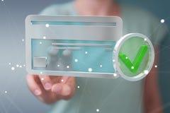 Femme d'affaires employant la carte de crédit pour payer le rendu 3D en ligne Photo stock