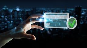 Femme d'affaires employant la carte de crédit pour payer le rendu 3D en ligne Images libres de droits