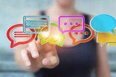 Femme d'affaires employant la conversation colorée numérique i du rendu 3D Photographie stock libre de droits