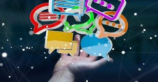 Femme d'affaires employant la conversation colorée numérique i du rendu 3D Photos stock