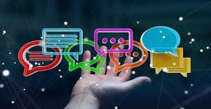 Femme d'affaires employant la conversation colorée numérique i du rendu 3D Photo libre de droits