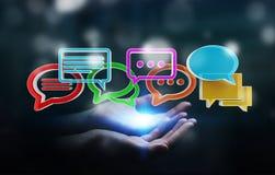 Femme d'affaires employant la conversation colorée numérique i du rendu 3D Image stock