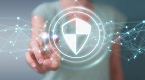 Femme d'affaires employant la protection sûre de bouclier avec les connexions 3D r Image stock