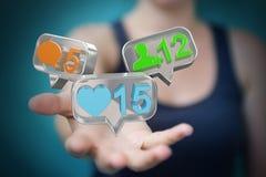 Femme d'affaires employant le rende social coloré numérique des icônes 3D de media Photos stock