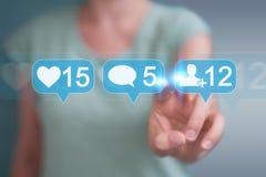 Femme d'affaires employant le rende social coloré numérique des icônes 3D de media Photo stock