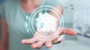Femme d'affaires employant le renderi de l'application 3D d'assurance de soin de famille Photo stock