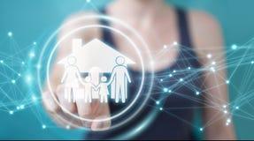 Femme d'affaires employant le renderi de l'application 3D d'assurance de soin de famille Photo libre de droits