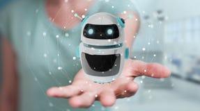 Femme d'affaires employant le renderi numérique de l'application 3D de robot de chatbot Photographie stock