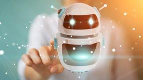 Femme d'affaires employant le renderi numérique de l'application 3D de robot de chatbot Photos stock