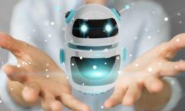 Femme d'affaires employant le renderi numérique de l'application 3D de robot de chatbot Photo libre de droits