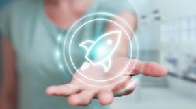 Femme d'affaires employant le rendu de démarrage de l'interface numérique 3D Image stock