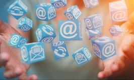 Femme d'affaires employant le rendu de flottement du contact 3D de cube Photos libres de droits