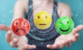 Femme d'affaires employant le rendu de l'estimation de satisfaction du client 3D Photos libres de droits