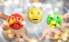 Femme d'affaires employant le rendu de l'estimation de satisfaction du client 3D Images stock