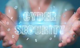 Femme d'affaires employant le rendu de l'hologramme 3D des textes de sécurité de cyber Image stock