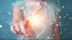 Femme d'affaires employant le rendu de l'interface 3D de carte du monde des Etats-Unis Image libre de droits