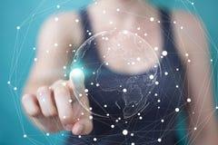 Femme d'affaires employant le rendu de l'interface réseau 3D de la terre de vol Images stock