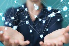 Femme d'affaires employant le rendu de la connexion 3D de boules de réseau de vol Photos libres de droits
