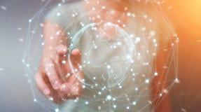 Femme d'affaires employant le rendu de la sphère 3D de réseau de la terre de planète Images libres de droits