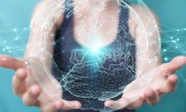 Femme d'affaires employant le rendu de la sphère 3D de réseau de la terre de planète Image stock