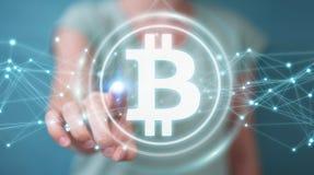 Femme d'affaires employant le rendu du cryptocurrency 3D de bitcoins Photo libre de droits