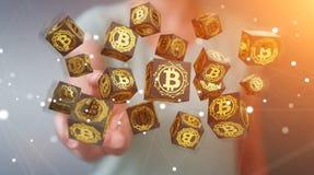 Femme d'affaires employant le rendu du cryptocurrency 3D de bitcoins Photographie stock